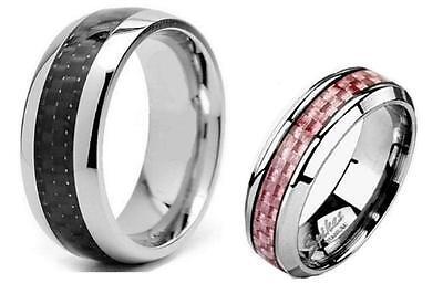 2 Pc His & Hers Pink Black Titanium Carbon Fiber Wedding Band Ring Set