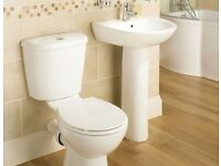 New Close Coupled Toilet & Pedestal Basin Set with Soft close seat