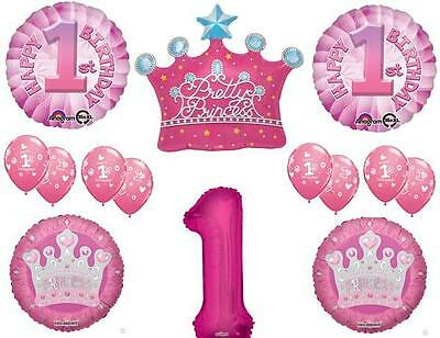 GIRL'S 1ST PRINCESS CROWN First Birthday Party Balloons Decoration Supplies](First Birthday Supplies Girl)