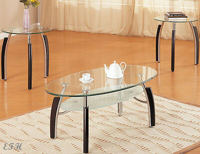 NEW HAXTUN 3PC GLASS TOP CHROME FINISH OVAL FROSTED COFFEE ROUND END TABLE SET