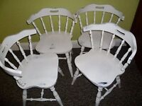 4 x White Shabby Chic Vintage Wooden Captains Chairs up-cycled in chalk paint *more listed*