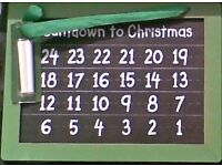Santa DOUBLE- SIDED CHALK BOARD with chalks COUNT DOWN TO CHRISTMAS. Brand New.