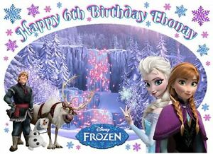 EDIBLE DISNEY ELSA ANNA PRINCESS FROZEN HAPPY BIRTHDAY PARTY ICING CAKE TOPPER