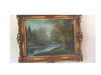 Oil Painting original oil on canvas rural countryside ornate frame
