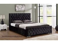 3 Colour New Double/King Crushed Velvet Chesterfield Bed With Mattress==Black/Cream/Silver