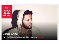 James arthur Manchester ritz 22 Dec tickets x 2