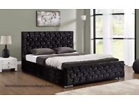 CLASSIC OFFER= Chesterfield Storage Bed 4ft6 Double All Sizes Velvet Crushed Bed Frame KINGSIZE