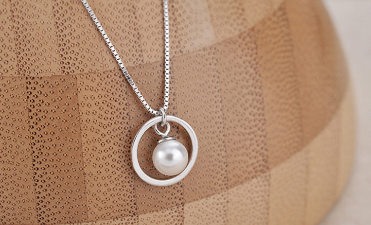 Jewellery - Round Pearl Pendant 925 Sterling Silver Jewellery Necklace Chain Women Love Gift