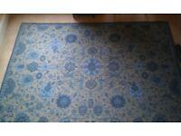 Laura Ashley rug, large, blue floral pattern.