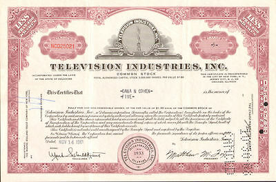 Television Industries Inc > TV stock certificate share