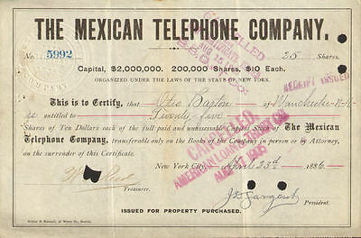 The Mexican Telephone Company > 1880s stock certificate Mexico share