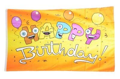 Fahne Happy Birthday mit Luftballons Flagge Geburtstags Hissflagge 90x150cm