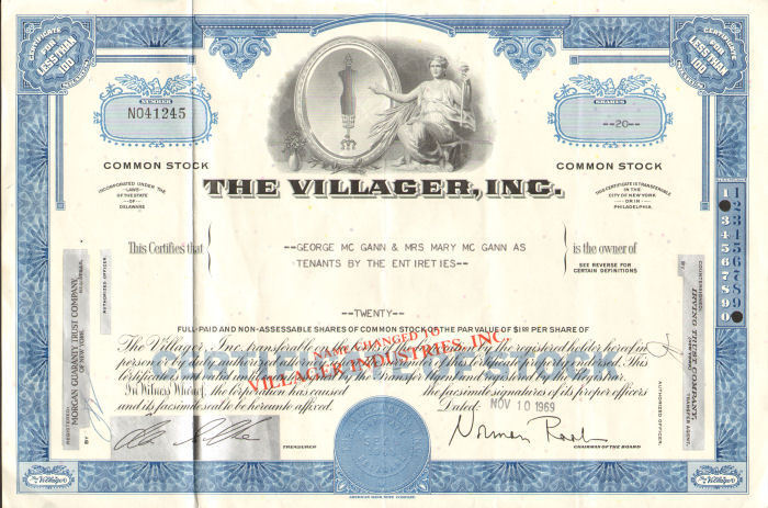 The Villager > 1969 stock certificate share scripophily