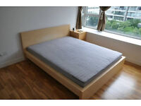 Kingsize bed: Ikea Malm birch wood