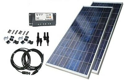 130w German Cell Solar Panel Kit W/ Charge Controller & Cables & Z Bracket