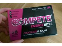 Compete chocolate flavour energy bites 11x boxes of 6, contains caffeine
