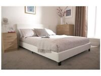 Brand New Kingsize White Leather Bed