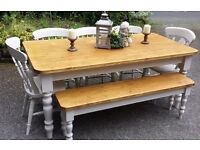 STUNNING 6FT NEW PINE FARMHOUSE TABLE BENCH AND CHAIRS