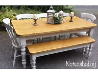 STUNNING SOLID 6FT NEW HANDMADE PINE FARMHOUSE TABLE BENCH AND CHAIRS