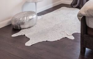 Silver and white Metallic cowhide rug