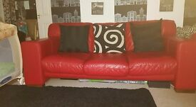 Red Leather Sofa (Good condition)