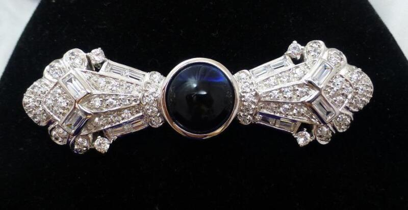 Vintage 925 Sterling Silver Rhinestone Sapphire Blue Cabochon Art Deco Brooch