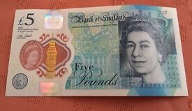 New Five Pound £5 note Polymer - AA01 013987. serial number