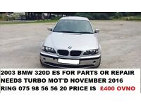 2003 BMW 320D ES FOR PARTS OR REPAIR NEEDS TURBO READ AD