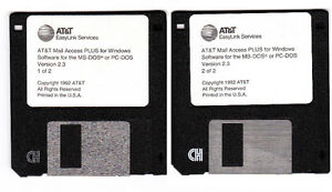 AT&T Mail Access PLUS Windows Version 2.3 Vintage Floppy Discs