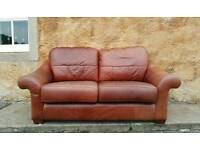 Brown Tan Hide Leather Sofa 2-3 Seater. Rustic Lazy Boy style