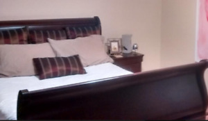 Queen Sleigh Bed and 2  Night Stands