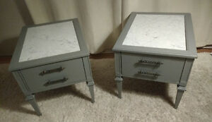 REDUCED!!! SKLAR PEPPLER END TABLES / NIGHT TABLES, MARBLE TOP