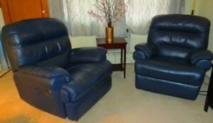 Genuine Italian Leather Sofa Set with Two Reclining Chairs