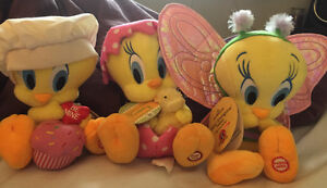 3 Hallmark Medium Size Talking Tweety Bird Stuffed Animals