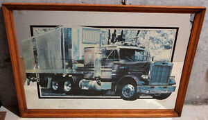 Wooden framed decorative mirror back truck print wall hanging London Ontario image 1