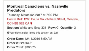 2 billets Canadiens - Nashville/PK (!)