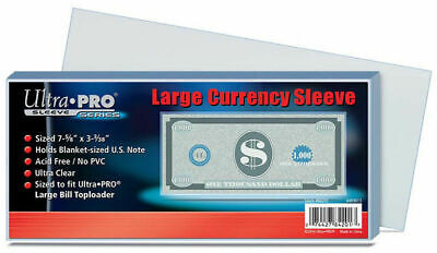 *100* Ultra PRO Large Currency Sleeves Bank note Bill Blanket size 1 pack