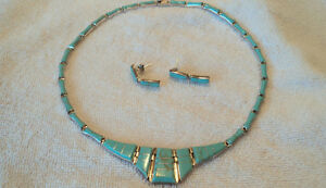 STUNNING TURQUOISE & SILVER (STAMPED 950) NECKLACE &  EARINGS