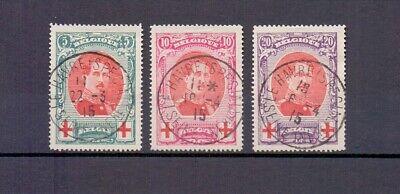 BELGIUM 1915 red cross SET FINE USED 132/134