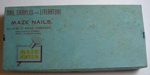 Vintage Maze Nails Advertising Sample Box-Peru Illinois-Carded Sample Nails