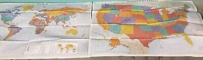 Wall Maps World & US geopolitical & geological 40x30 prox K12 Maps.com LN 190904