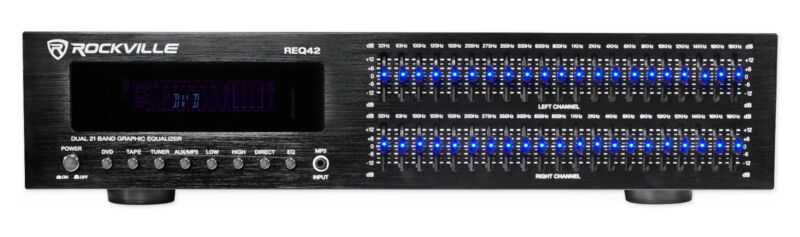 "Rockville REQ42-B Black 19"" Rack Mount 2 x 21 Band Equalizer w/Spectrum Analyzer"