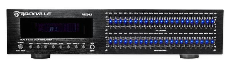 "Rockville REQ42-B Black 19"" 2 x 21 Band Graphic Equalizer w/Spectrum Analyzer"