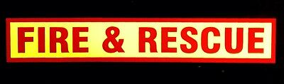 Fire & Rescue Self Adhesive Fluorescent Warning Sign