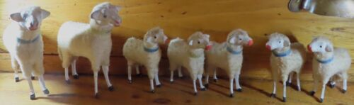 """Lot of Seven Matchstick Putz Sheep German 4"""" to 2.5"""" c.1900, All marked Germany"""