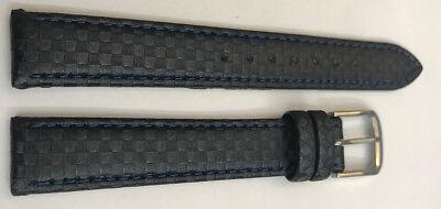 LUXUS Uhrenarmband CHRISTIAN BERNARD-Leder 15mm, BLAU STAHL Schliesse,