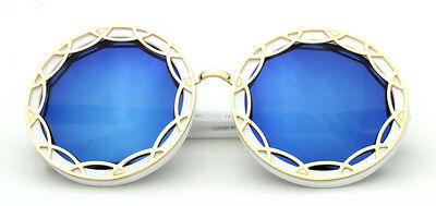 Women Sunglasses Round Blue Mirror White Retro Designer Fashion