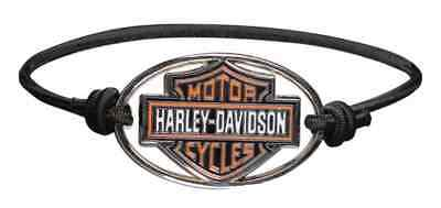 Harley-Davidson Bar & Shield Metal Charm Logo Elastic Wristband, Black WB30206