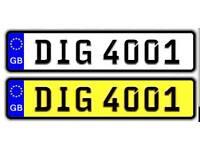 DIG 4001 DATELESS CHERISHED PRIVATE NUMBER PLATE DVLA REGISTRATION