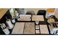 Marble and marble effect kitchen set
